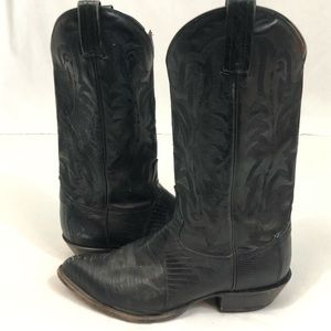 Tony Lama black cowboy boots men's 10